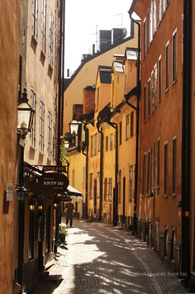 Crooked and narrow medieval streets of Gamla Stan, Stockholm, Sweden