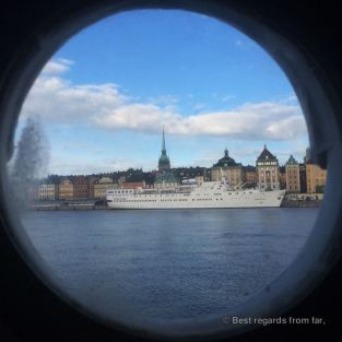 View on Gamla Stan from the porthole, Stockholm, Sweden