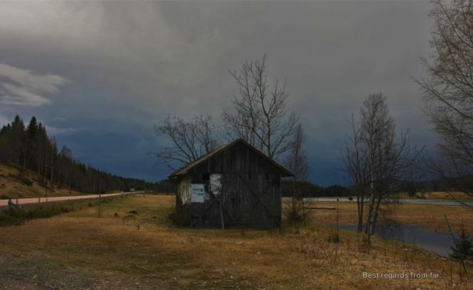 One of the many lost huts along the empty northern Swedish roads