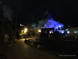 Beppu by night with its characteristic geysers