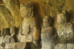 Detail of the Furuzono stone Buddhas, 12th century sculptures, Usuki stone Buddhas, Japan.