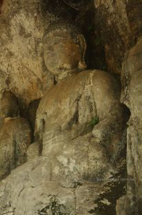 Detail of the 3 Amidas (12th century), Usuki stone Buddhas, Japan.