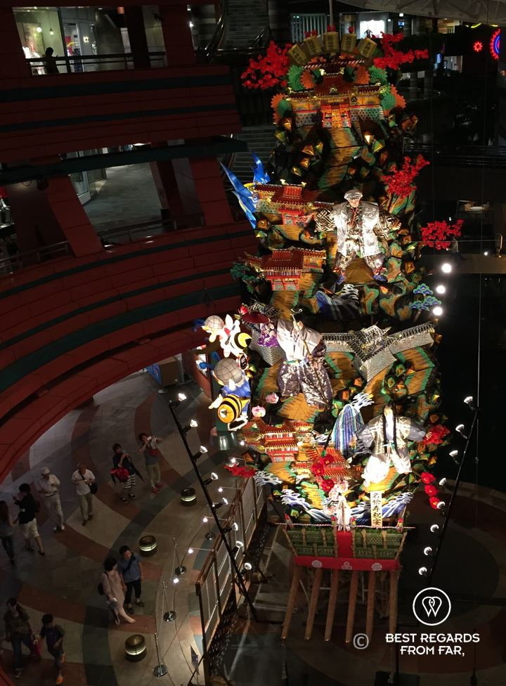 A large float displayed for the Hakata Gion Yamakasa festival at Canal City in Fukuoka, Kyushu.