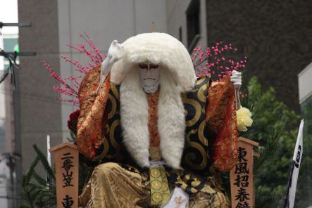 Details of a float showing a scary character during the Hakata Gion Yamakasa festival in Fukuoka, Kyushu, Japan