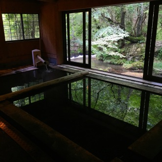 Beautiful view on the forest from the Yamamizuki onsen, Kurokawa, Japan. Experiencing the traditional Japanese spa.