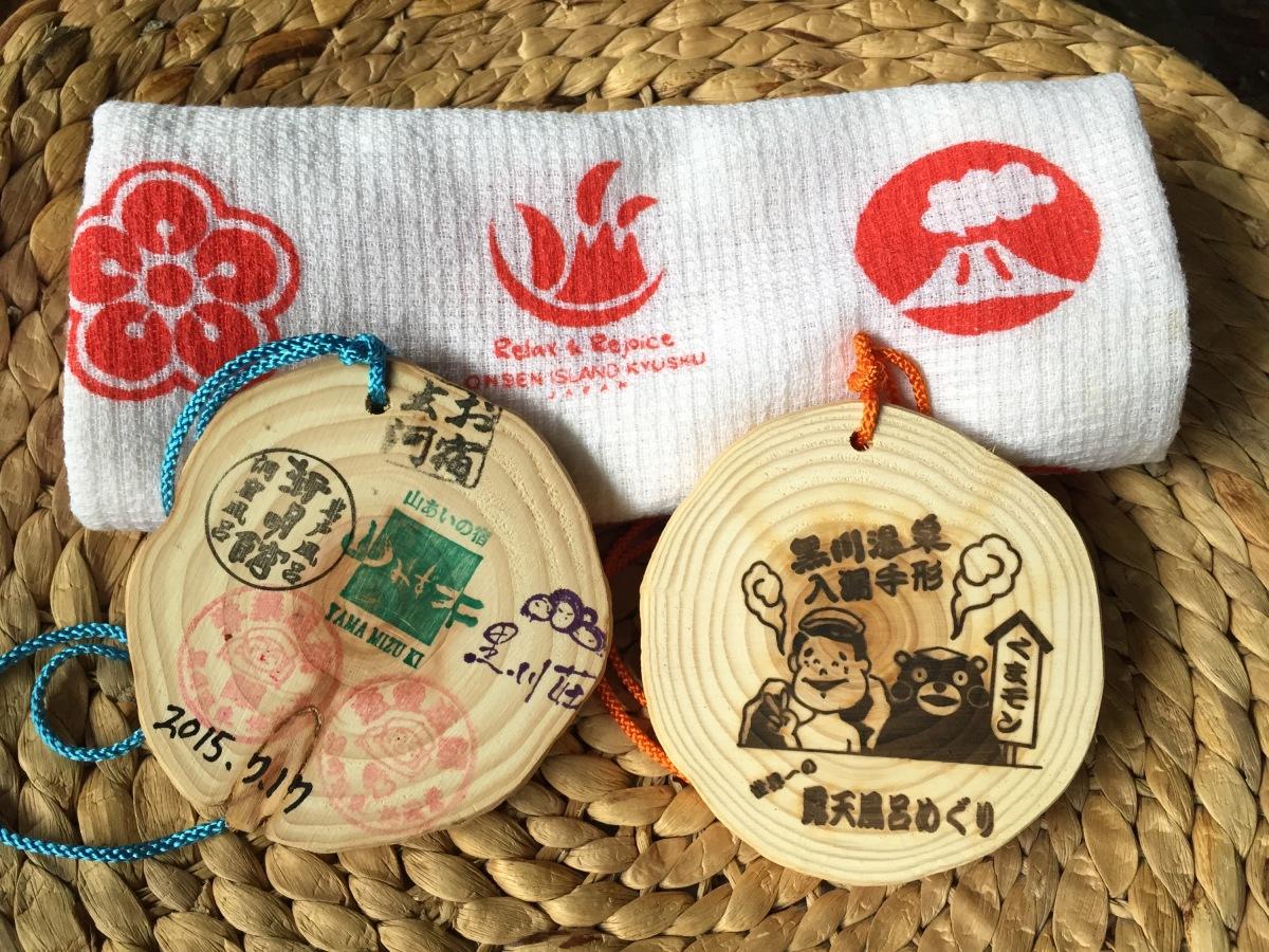 Wooden onsen passes at Kurokawa with onsen towel, Japan. Experiencing the traditional Japanese spa.