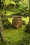 Han-woven basket of a gardener in Koke-dera, the temple of moss, Kyoto.