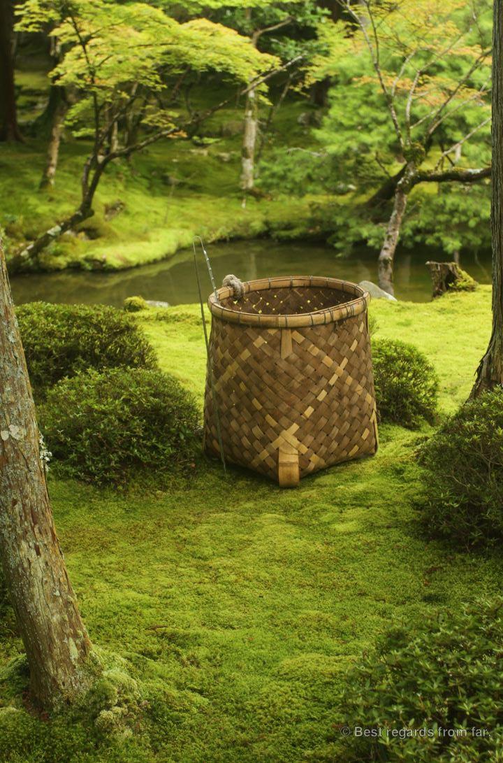 Han-woven basket of a gardener in Koke-dera, the temple of moss, Kyoto.