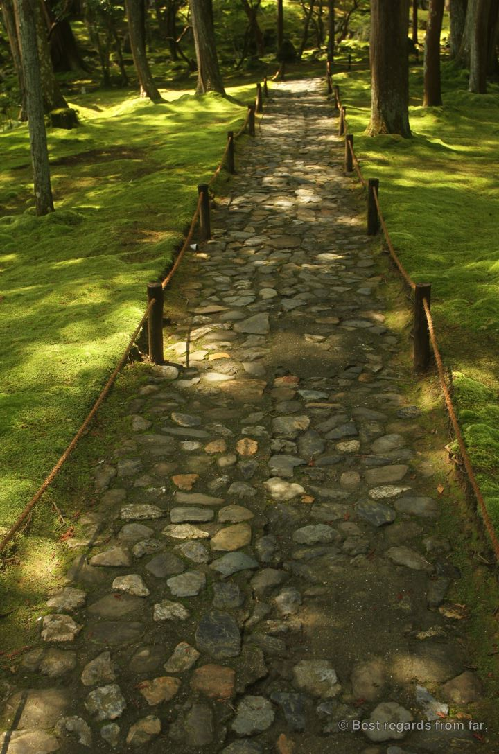 The path through Koke-dera, the temple of moss, Kyoto.