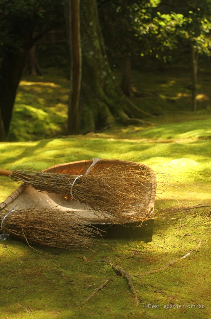 Twig brooms on the moss in Koke-dera, the temple of moss, Kyoto.