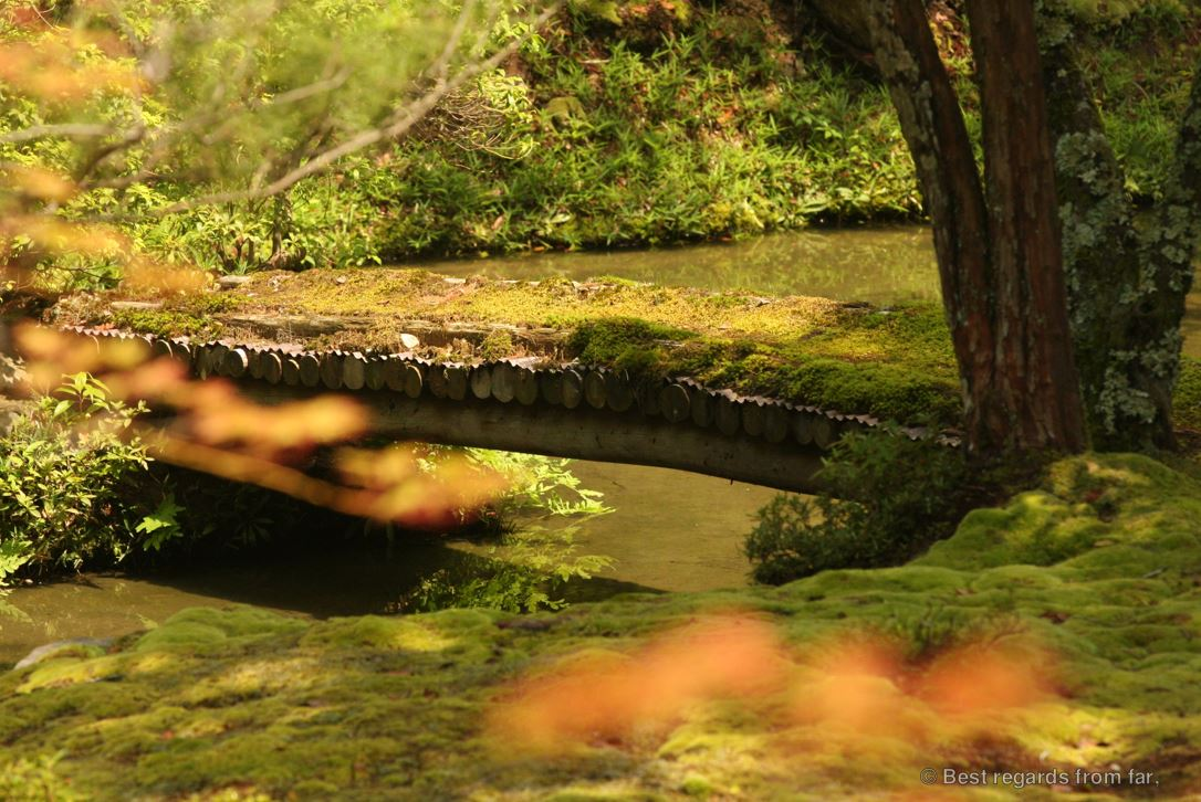 Wooden bridge over a creek in Koke-dera, the temple of moss, Kyoto.