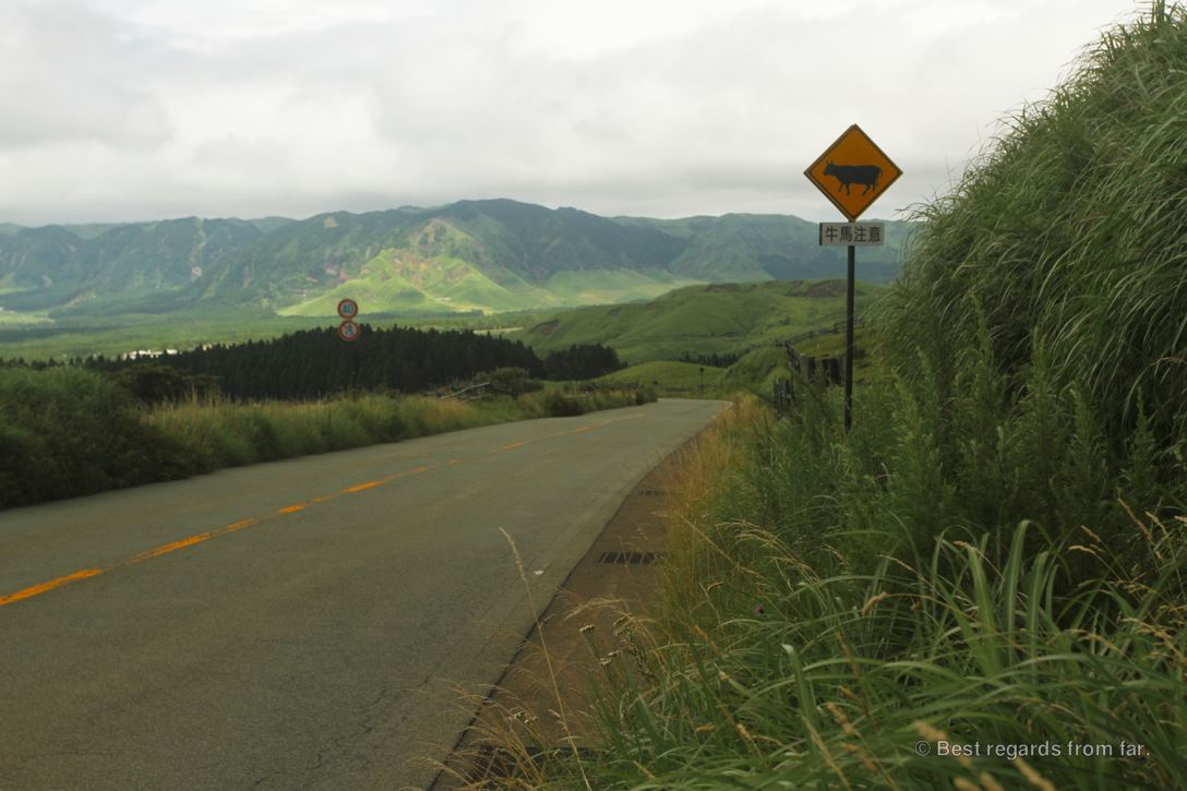 Driving along the grasslands of Mount Aso on Kyushu Island, Japan, with the green mountains in the background.