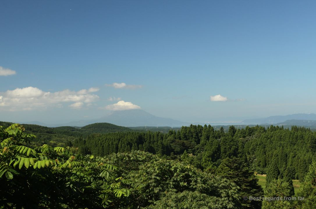 Mount Aso in the distance on Kyushu Island, Japan.
