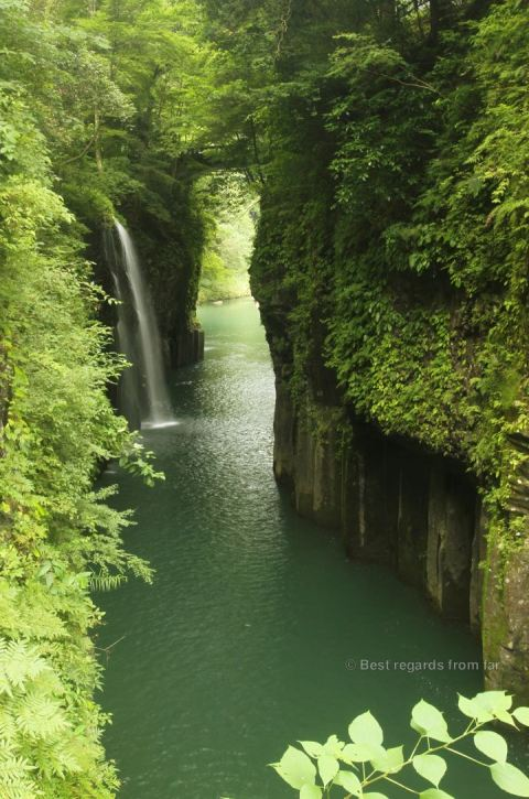 Spectacular waterfall of Takachiho, Japan.