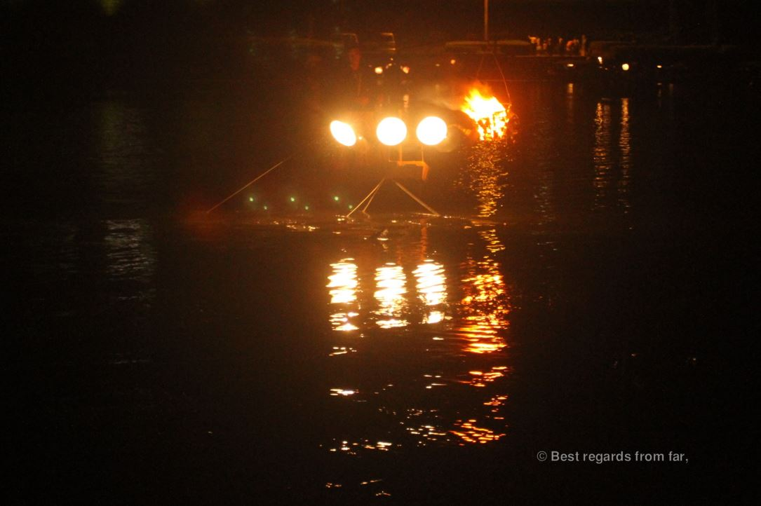 Ancient tradition of cormorants fishing (ukai) in Japan: cormorants are fishing by night.