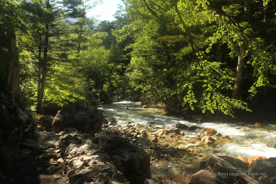 A mountain stream while hiking the Japanese Alps.