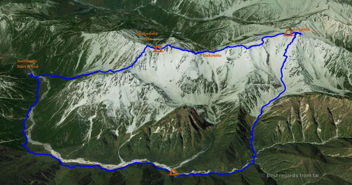 The 3D track of the Yari-dake 3-day hike in the Japanese Alps, with camps.
