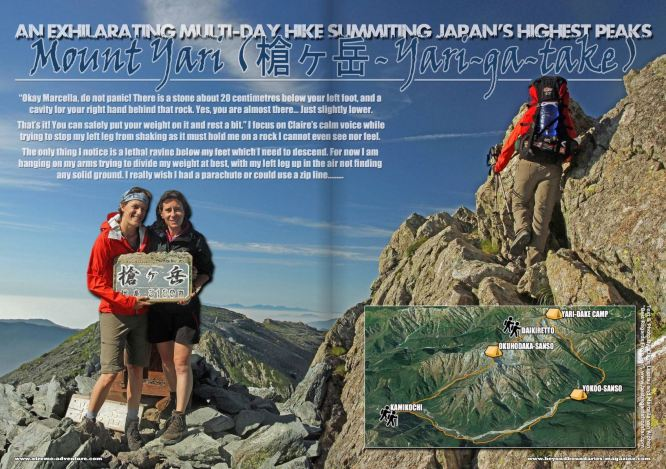 Authors and photographers, Claire & Marcella, up Okuhodaka-dake in the Japanese Alps in the Beyond Boundaries magazine.