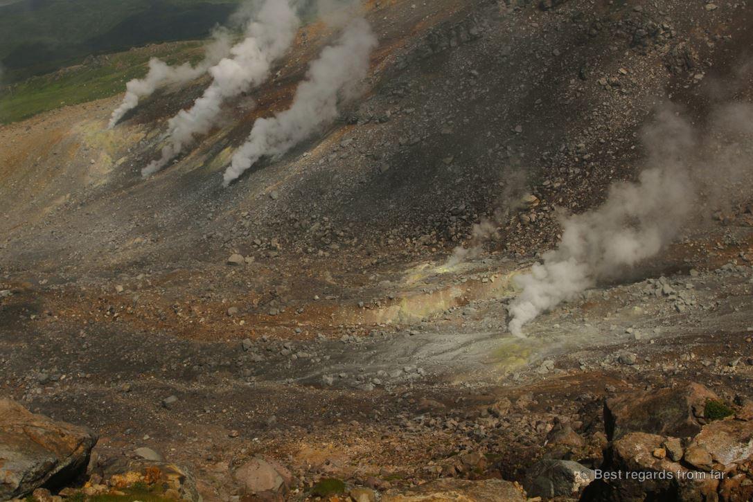 Fumaroles on the active Asahi-dake volcano in the Daisetsuzan National Park, Hokkaido Japan. The start of the Grand Traverse hike.