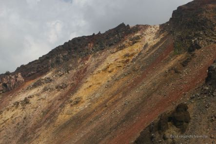 The colourful and volcanic slopes of the active Asahi-dake volcano in the Daisetsuzan National Park, Hokkaido Japan. The start of the Grand Traverse hike.