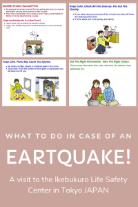 White text with pictograms about what to do in case of an earthquake.
