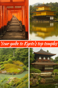 Golden temple with reflections in the water, a Japanese temple with wooden roof, orange shrines and a Japanese garden with a pond and green moss.