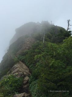 Rocky back of the Ichizuchi san summit in the clouds.