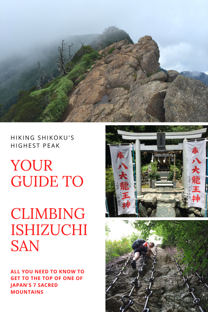Rocky summit of the sacred Ishizuchi san in Shikoku in the clouds. A hiker climbs the chains.