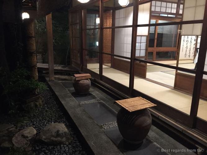 The inner garden at the kaiseki, Kyoto, Japan