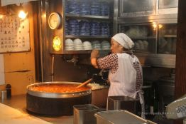 Preparing soup by the Tsukiji market, Tokyo, Japan