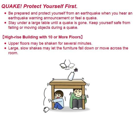 Life safety learning center in Tokyo: what to do after an earthquake. Step 1: protect yourself.