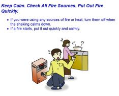 Life safety learning center in Tokyo: what to do after an earthquake. Step 2: check fire sources.