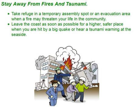 Life safety learning center in Tokyo: what to do after an earthquake. Step 6: stay away from fire and tsunami.