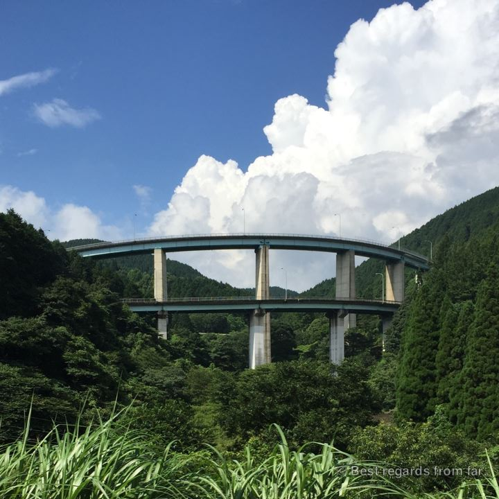 Impressive civil engineering of a road ramp in Japan elevating the road.