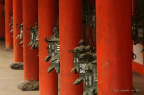 Details of the lanterns in a shrine in Nara.
