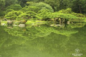 Pond and reflection of the vegetation of Ritsurin Garden, Takamatsu, the most beautiful Japanese gardens in Japan.