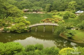 Ritsurin Garden, Takamatsu: view on the pond.