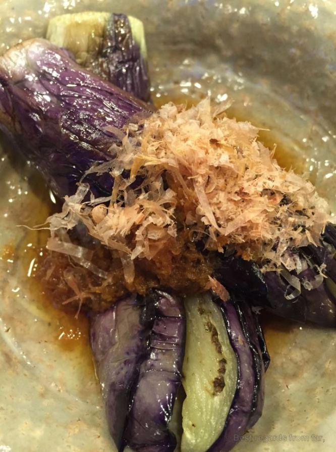 Delicious eggplant slightly seasoned and topped with katsuobushi (shredded fish), ryokan, Hokkaido.