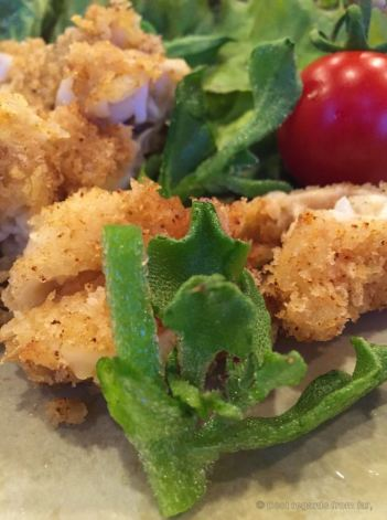 Detail of the tempura cuttlefish with ice plant.