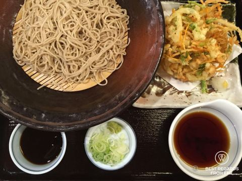 Zaru soba, served cold with a cold broth and tempura as a side - Japan