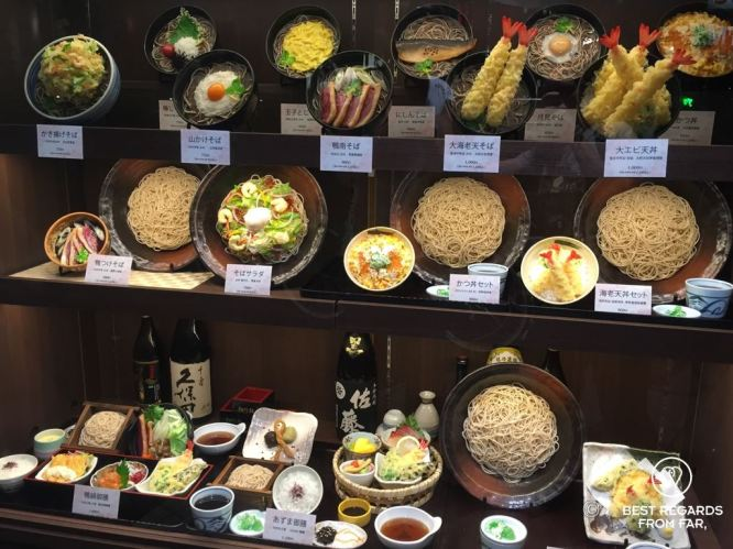 Wide variety of soba noodles displayed in Japan