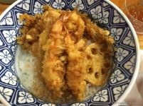 Tendon, or tempura served on rice.
