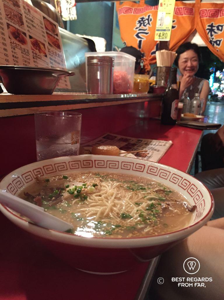 Hakata ramen specialty at a yatai (food cart) in Fukuoka, Japan