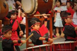Proudly drumming at the Shikokuchuo summer festival