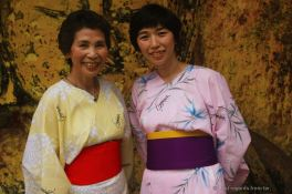 Mother and daughter wearing traditional kimonos, Japan