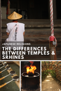 Text about the differences between temples & shrines. The back of a pilgrim, a candle blowing.