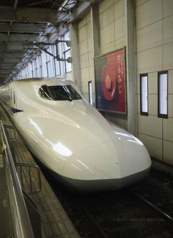 The aerodynamic Shinkansen or bullet train