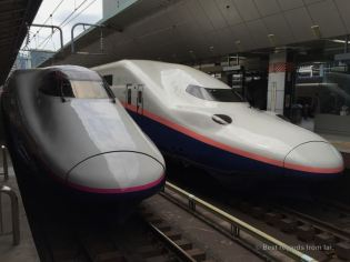 Two Shinkansen trains ready to go at Tokyo station for the highly traveled Obon week-end