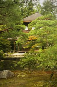 Ginkaku-Ji, slightly hidden by its man-shaped trees