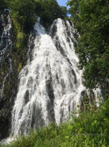 One of the many waterfalls along the road towards Shiretoko
